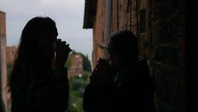谈话两名的妇女站立在阳台和-剪影 股票视频