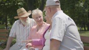 谈话两对可爱的成熟的夫妇和在长凳的微笑的开会在夏天公园 资深夫妇两对同时约会  股票录像