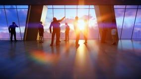 谈话企业的队,反对日落的办公室 皇族释放例证