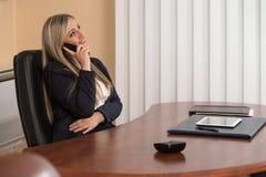 谈话在电话和使用计算机的女实业家 免版税库存图片