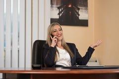 谈话在电话和使用计算机的女实业家 免版税库存照片