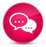 谈话泡影象典雅的桃红色圆的按钮 免版税图库摄影
