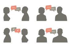 谈话象传染媒介例证 夫妇对话 免版税库存图片