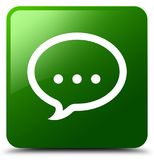 谈话象绿色正方形按钮 库存照片