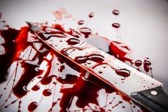 谋杀概念-有血液的刀子在白色背景 免版税库存照片