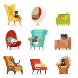 说谎和基于扶手椅子的逗人喜爱的不同的猫字符设置了传染媒介例证 向量例证