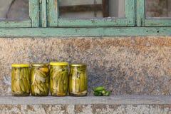 说谎在一个木板的罐装黄瓜在村庄 免版税图库摄影