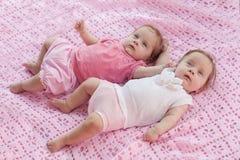 说谎在一条桃红色毯子的甜矮小的孪生。 库存照片