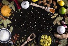 说谎在木厨房用桌上的草本和香料照片框架:金丝桃属植物,姜黄,海湾离开,椰子,石灰,柠檬,桂香, 库存图片
