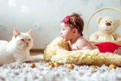 说谎在毯子和看在猫的婴孩 免版税库存照片