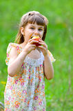 说谎在草的小女孩在春天 库存图片