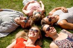 说谎在草的小组微笑的朋友户外 免版税库存图片