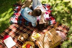 说谎在野餐毯子的浪漫夫妇在公园 库存照片