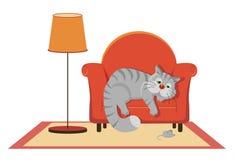 说谎在长沙发的哀伤的灰色猫 免版税库存图片