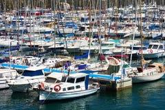 说谎在阿利坎特,西班牙港的许多游艇  免版税图库摄影