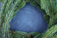 说谎在黑板的云杉分支 圣诞树黑色背景 新年度 免版税库存照片