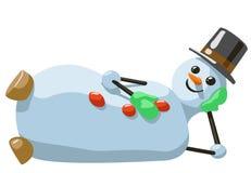 说谎的雪人的例证与帽子和手套的 库存照片