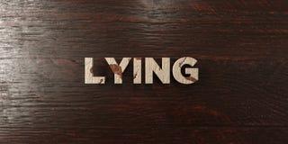 说谎的-在槭树的脏的木标题- 3D回报了皇族自由储蓄图象 免版税库存图片