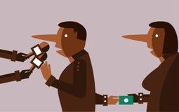 说谎者接受贿款的人采访和手 免版税库存照片