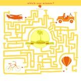 谜传染媒介 与自行车汽车飞机气球的滑稽的迷宫 库存照片