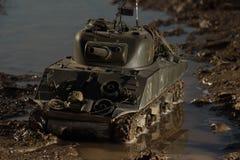 谢尔曼坦克的大模型 免版税库存照片