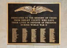 谢尔比县第二次世界大战退伍军人纪念匾 免版税库存图片