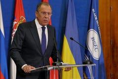 谢尔盖・拉夫罗夫在新闻招待会在第35次BSEC会议上 免版税库存图片