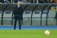 谢尔盖・雷布罗夫呼喊在领域的边缘, UEFA欧罗巴16在发电机之间的秒腿比赛同盟回合和埃弗顿 免版税库存照片
