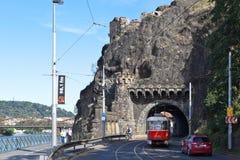 维谢格拉德隧道 布拉格 cesky捷克krumlov中世纪老共和国城镇视图 库存图片