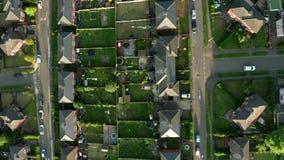 谢菲尔德市和周围的郊区空中英尺长度日落的在春天 股票录像