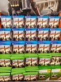 谢菲尔德,英国- 2019年3月20日:分部2待售在特易购中XBox一和Playstation的4 免版税库存图片
