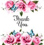 谢谢与美丽的玫瑰和蝴蝶的背景 库存照片