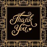 谢谢与艺术装饰框架的手拉的字法 库存图片
