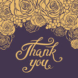谢谢与花卉元素的封缄信片模板 库存图片