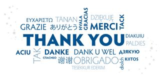 谢谢多语种蓝色和白色明信片 皇族释放例证