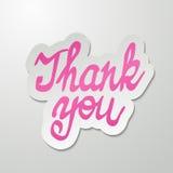 谢谢手写的题字 手拉的字法 书法贺卡 免版税库存图片