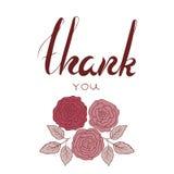 谢谢措辞与在marsala颜色的花 库存照片