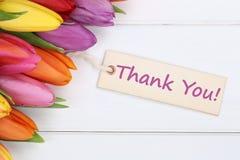谢谢有郁金香花的 免版税库存照片