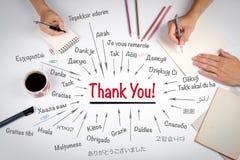 谢谢用世界的不同的语言 会议在白色办公室桌上 库存图片