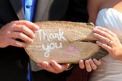 谢谢签字在婚礼 免版税库存照片