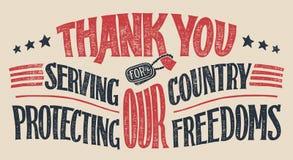 谢谢退伍军人手字法卡片 免版税库存图片