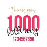 谢谢1000个追随者标志传染媒介 感谢设计标签 博客作者庆祝追随者的大数 例证 库存图片