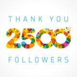 谢谢2500个追随者色的数字 库存图片