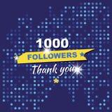 谢谢1000个追随者 以纪念庆祝的贺卡 平的例证eps10 免版税库存照片