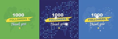 谢谢1000个追随者 设置贺卡以纪念庆祝 平的例证eps10 库存图片