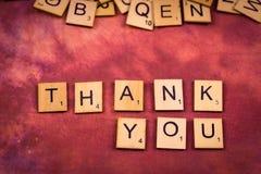 谢谢-字母表木信件概念 图库摄影