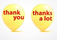 谢谢-感恩的黄色泡影 免版税库存图片