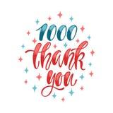 1000谢谢 社会媒介书信设计 免版税图库摄影
