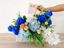 谢谢-词组,木头-材料,花束,花, 库存照片