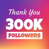 谢谢300k追随者网横幅 图库摄影